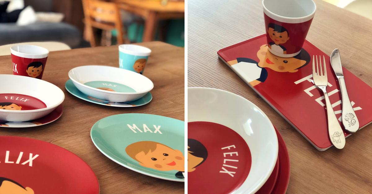 littleli kindergeschirr mit namen und bild des kindes. Black Bedroom Furniture Sets. Home Design Ideas